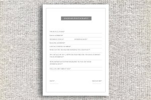 Minimal Photography Wedding Form