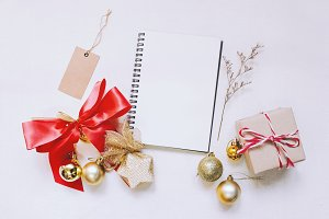 Christmas with notebook and tag