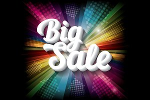 Big Sale on rainbow background