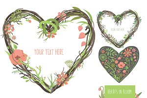 'Hearts in bloom' vector set