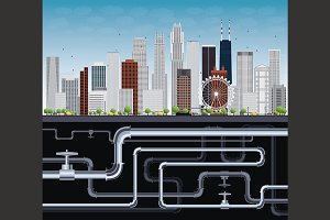 Imaginary Big City with tubes