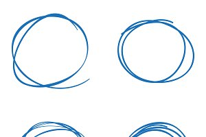 Scribble circles four blue colored