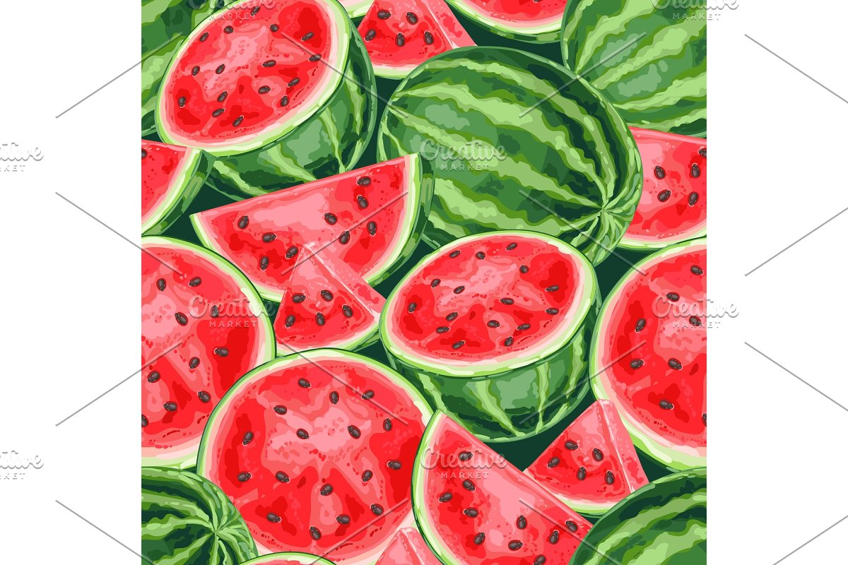 Seamless pattern with watermelons in Patterns