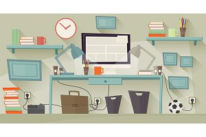 Workplace concept. Flat design.