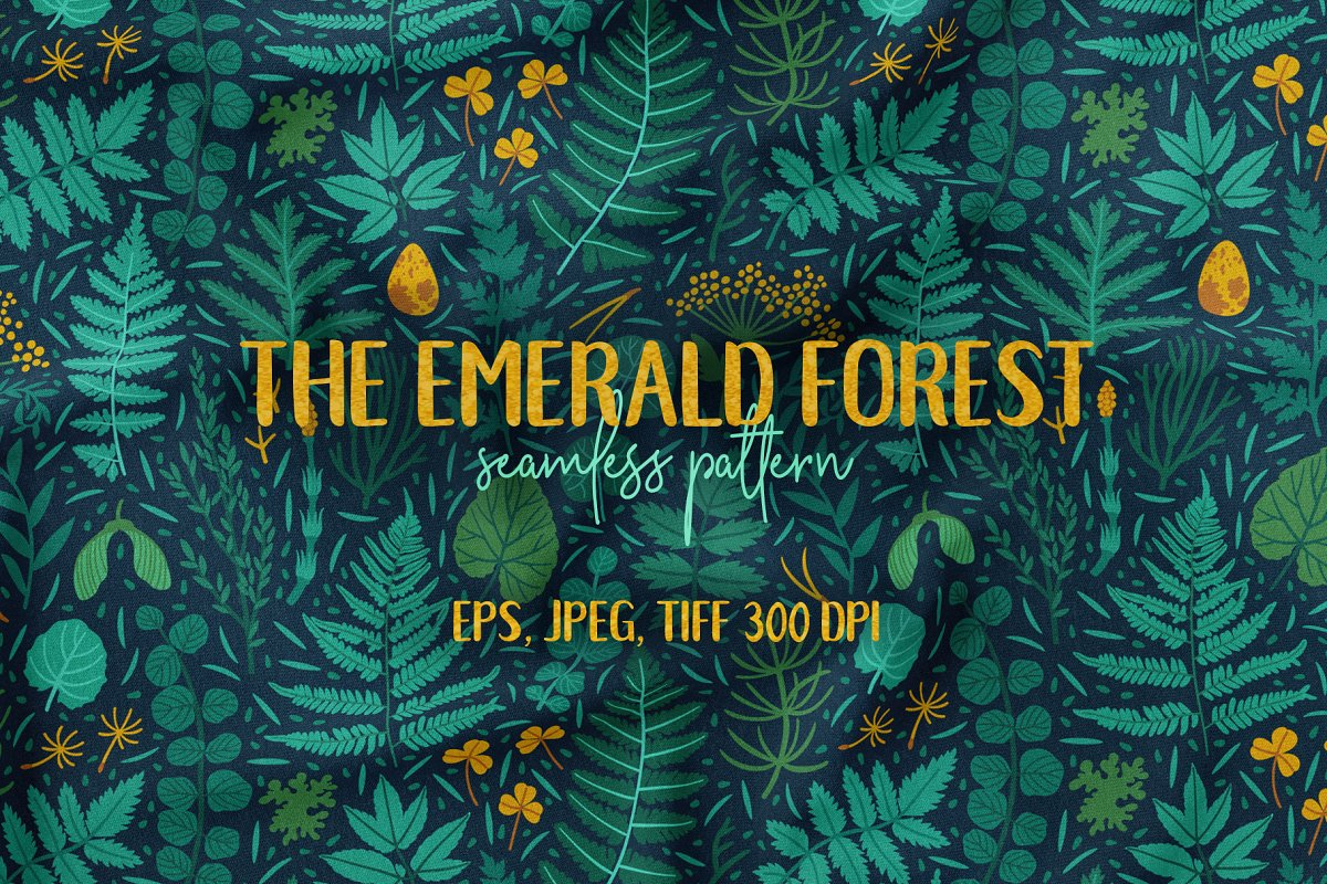 The emerald forest. Pattern design.