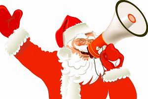 Santa Claus Santa with a megaphone