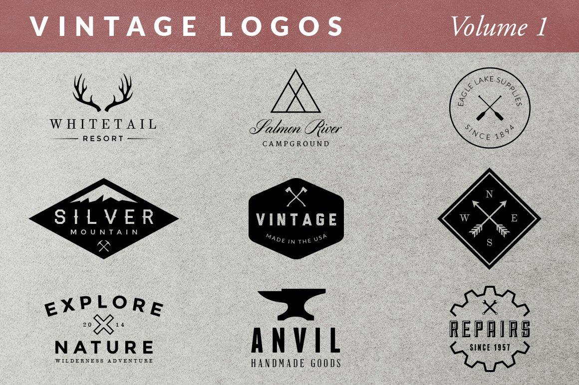 vintage logos volume 1 logo templates creative market. Black Bedroom Furniture Sets. Home Design Ideas