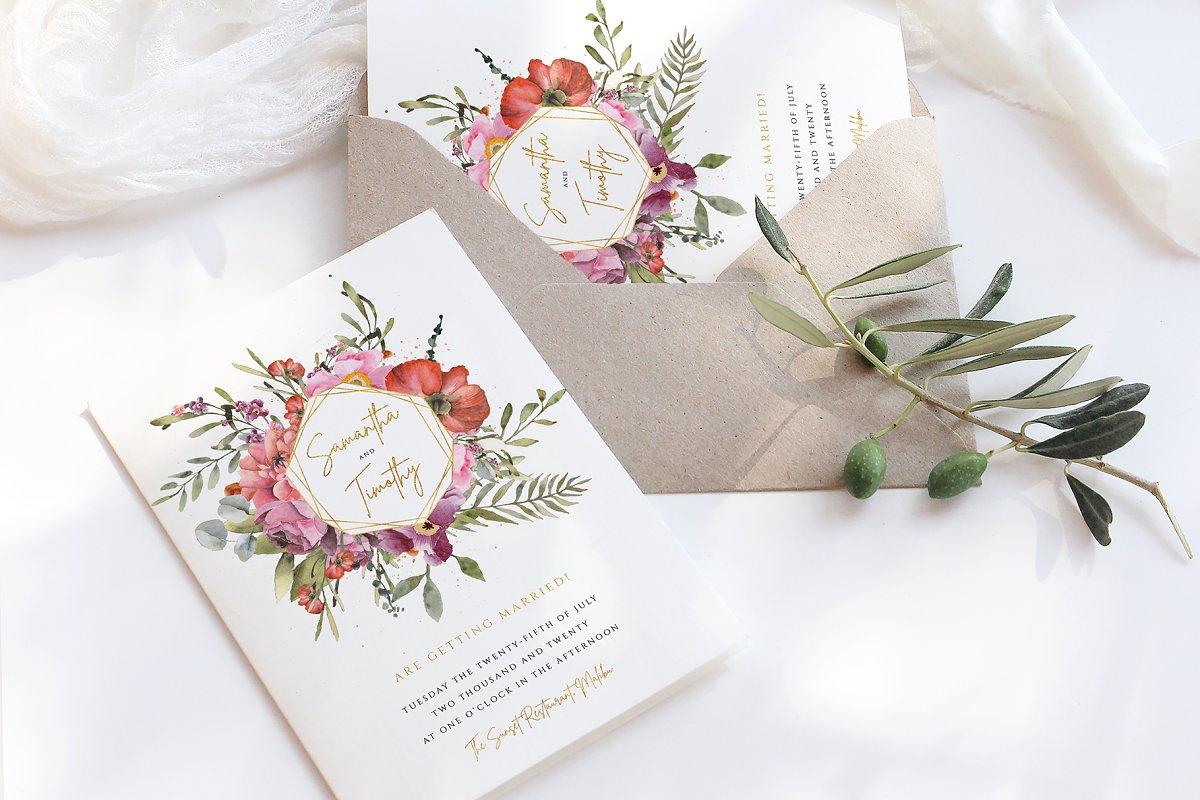 Floral & Gold Wedding Invite