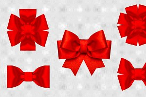 Red silk ribbon bow decoration PNG