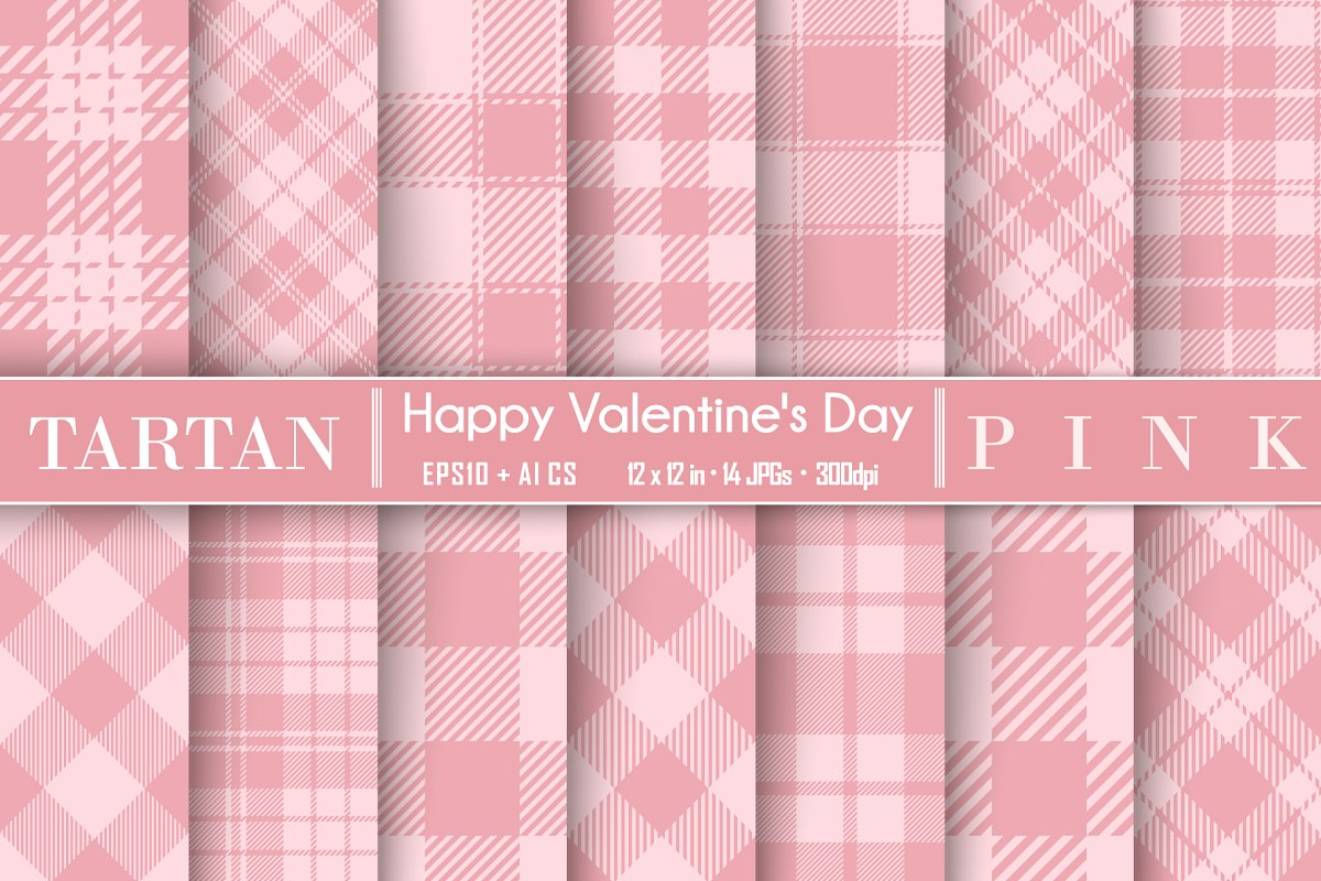 Set Tartan of Valentine's Day. in Patterns