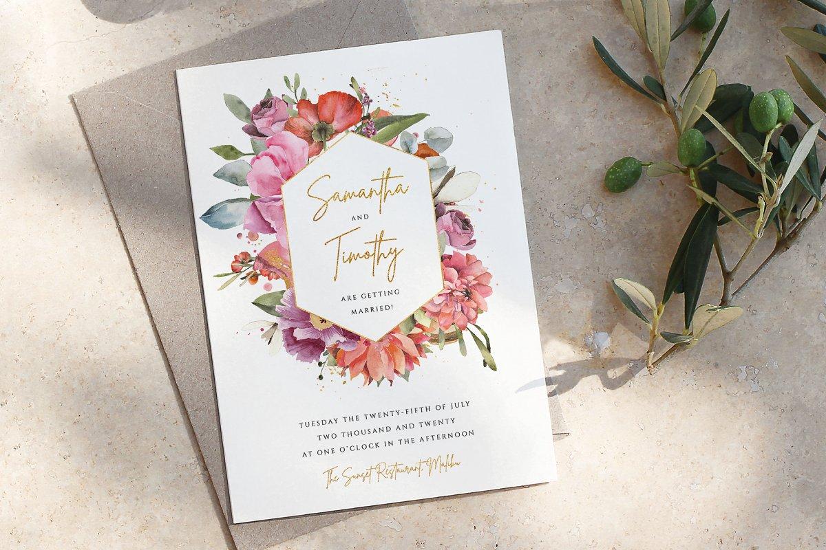 Hexagonal Wreath Wedding Invite