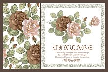 Set. Roses. Flowers. Greeting card.