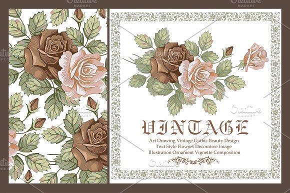 Set. Roses. Flowers. Greeting card. - Illustrations