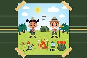 Boy Scout Children Vector Clipart