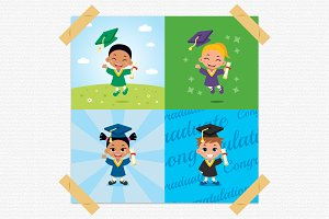 Graduated Childrens Vector Clipart