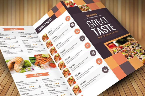 Clean Food Menu Brochure Templates Creative Market - Food brochure templates