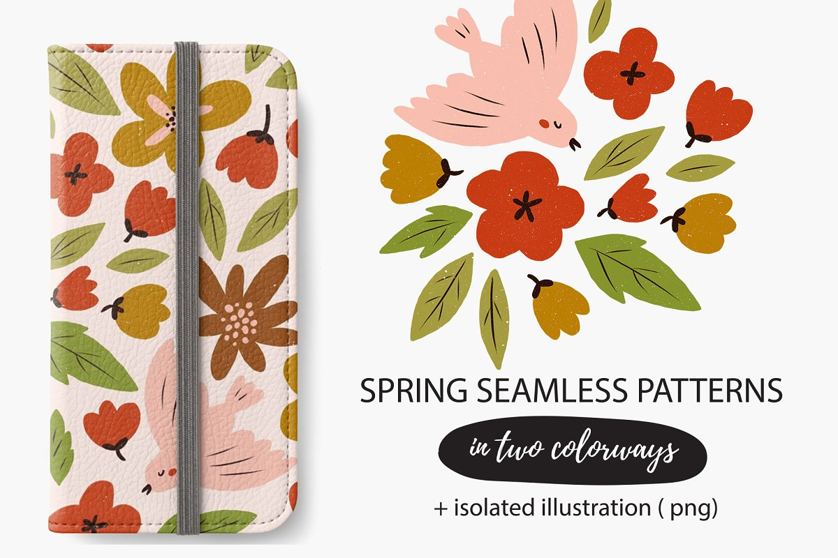 SPRING seamless pattern in Patterns - product preview 8