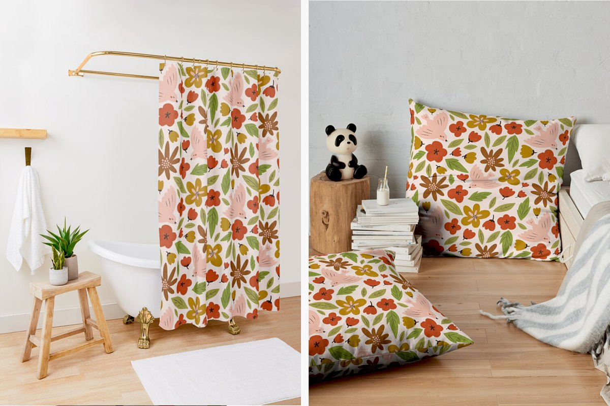 SPRING seamless pattern in Patterns - product preview 4