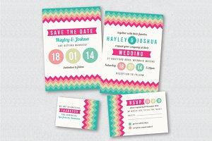 Colorful Chevron Wedding Invitation