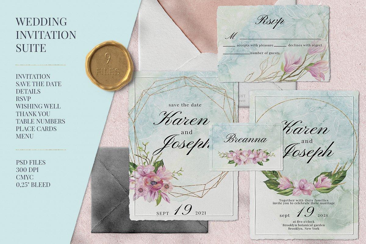 Magnolia Wedding Invitation Suite
