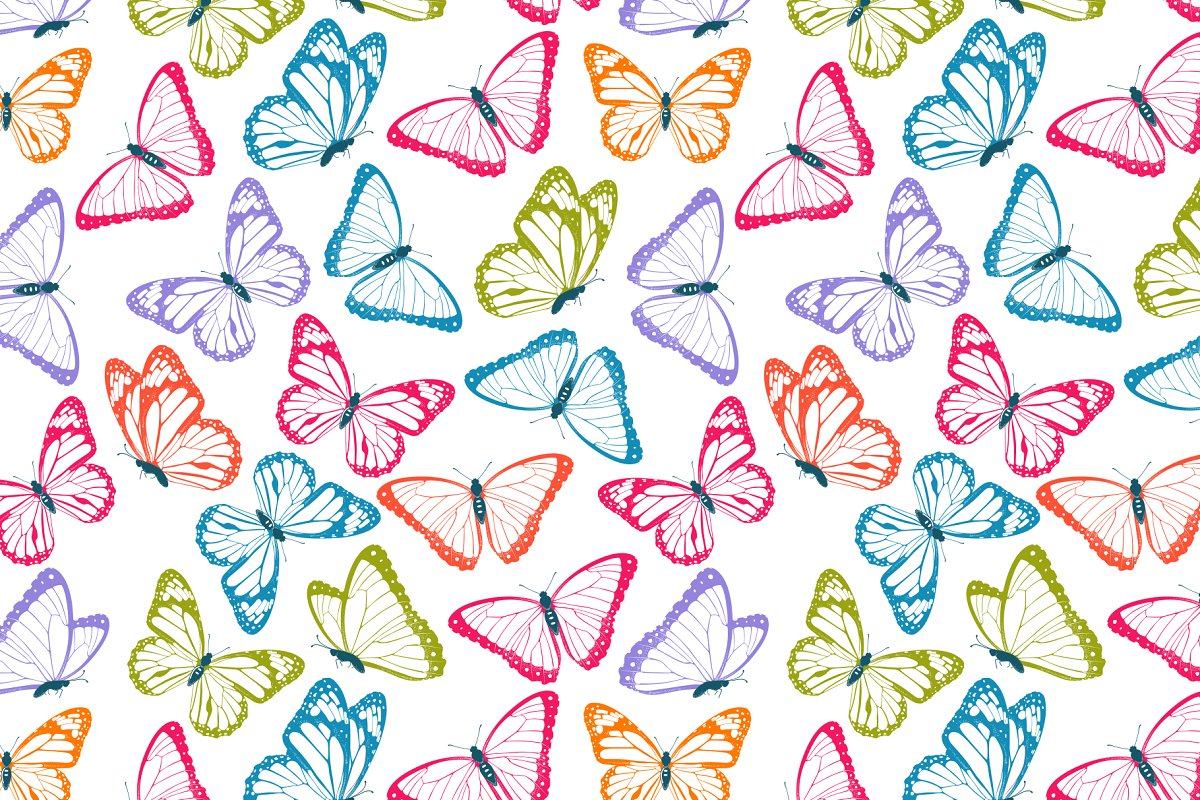 Color flying butterflies in Patterns