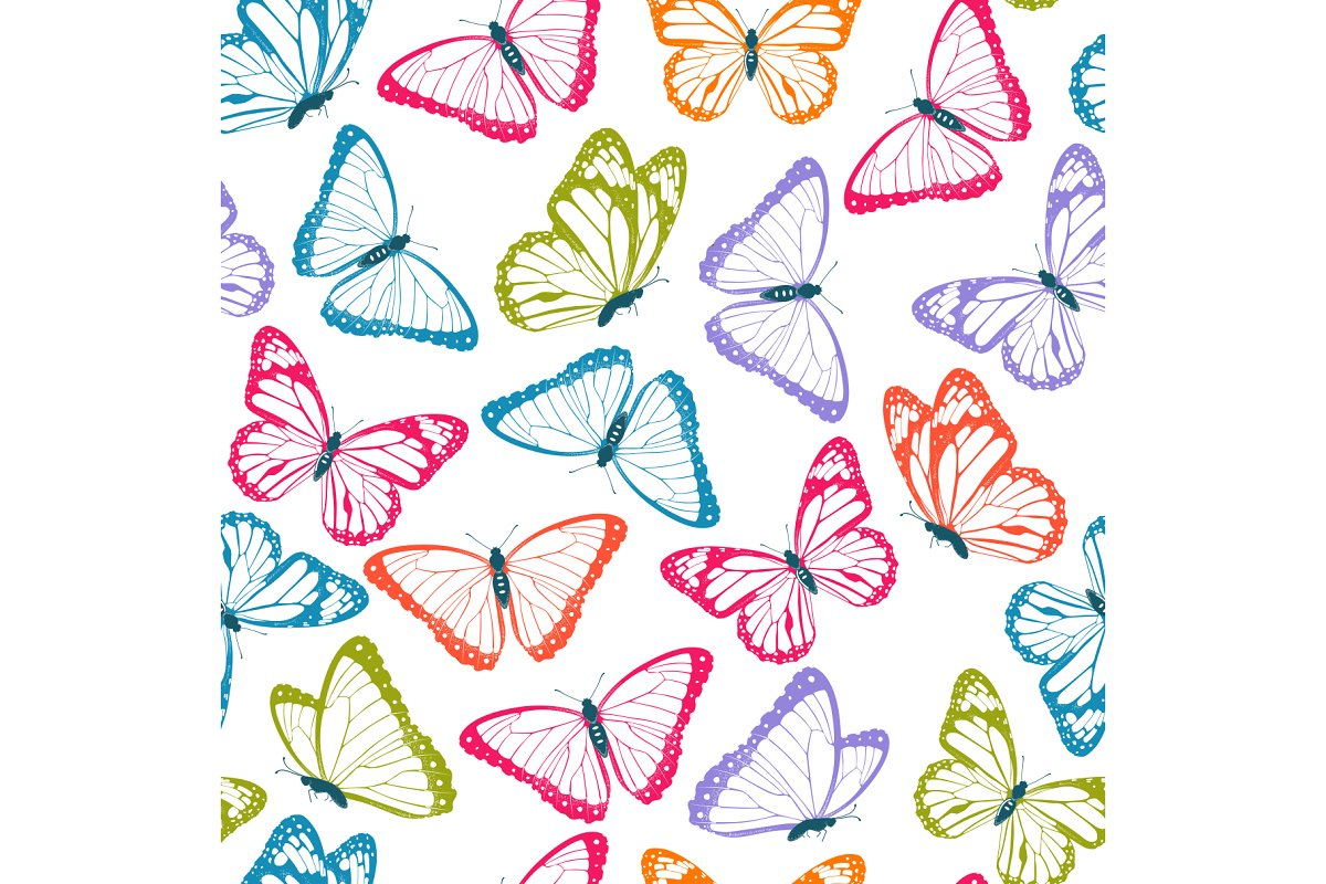Color flying butterflies in Patterns - product preview 1