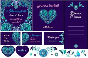 Set of vector wedding cards