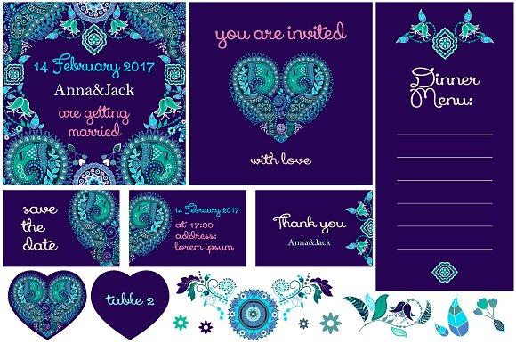 Set of vector wedding cards