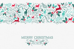 Christmas seamless pattern + label