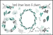 Blue & Gray Hand Drawn Blooms