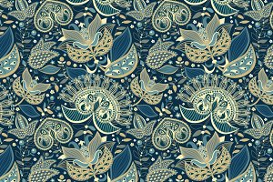 "Seamless pattern ""Indian night"""