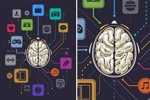 Brain Activity Vector Infographics