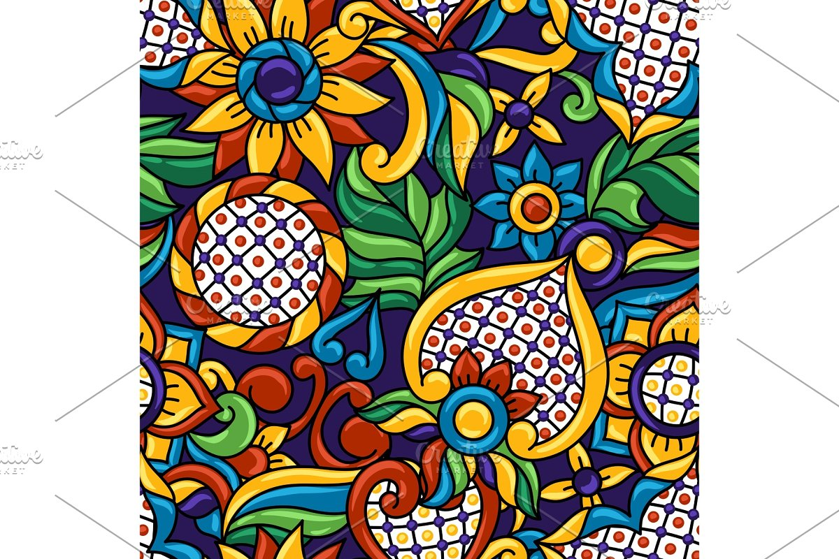 Mexican talavera seamless pattern