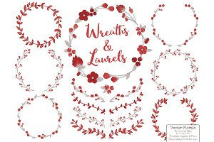 Ruby Vector Flower Wreaths