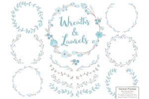 Soft Blue and Grey Flower Wreaths