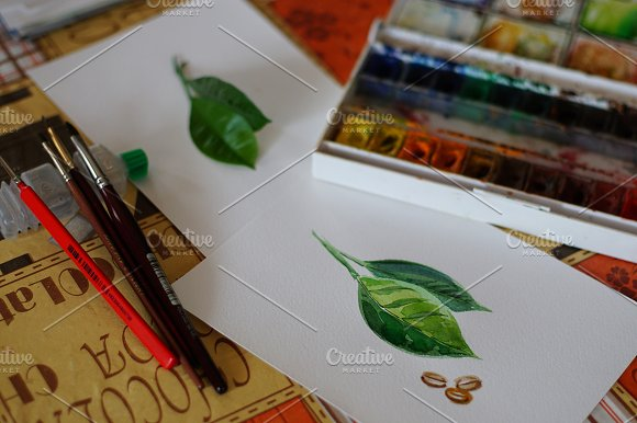 Watercolor coffee set-4 in Illustrations - product preview 3