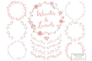Soft Pink and Grey Flower Wreaths