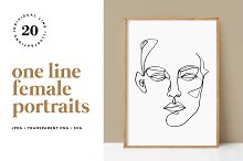 Minimalist One Line Female Portraits