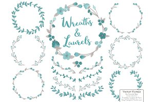 Vintage Blue Vector Flower Wreaths