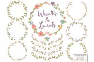 Vintage Vector Flower Wreaths