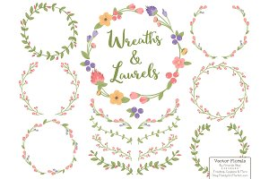 Wildflowers Vector Flower Wreaths