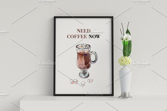 Watercolor coffee set-4 in Illustrations - product preview 5