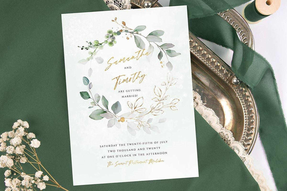 Oval Wreath Wedding Invitation