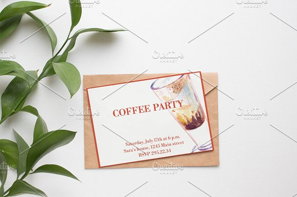 Watercolor coffee set-4 in Illustrations - product preview 6