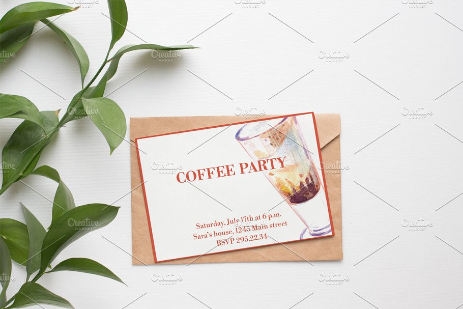 Watercolor coffee set-4 in Illustrations - product preview 7