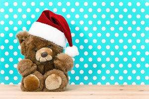 Vintage teddy bear. Christmas