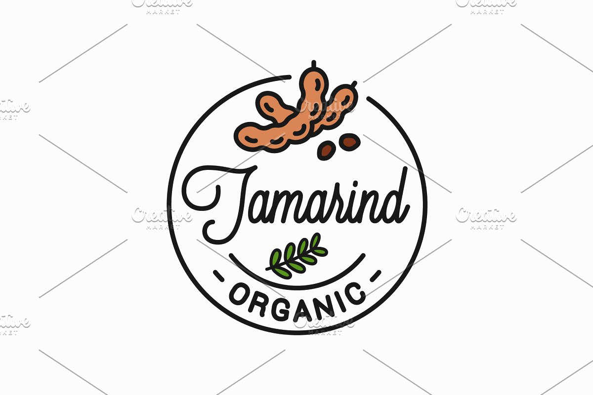 Tamarind fruit logo. Round linear. in Illustrations