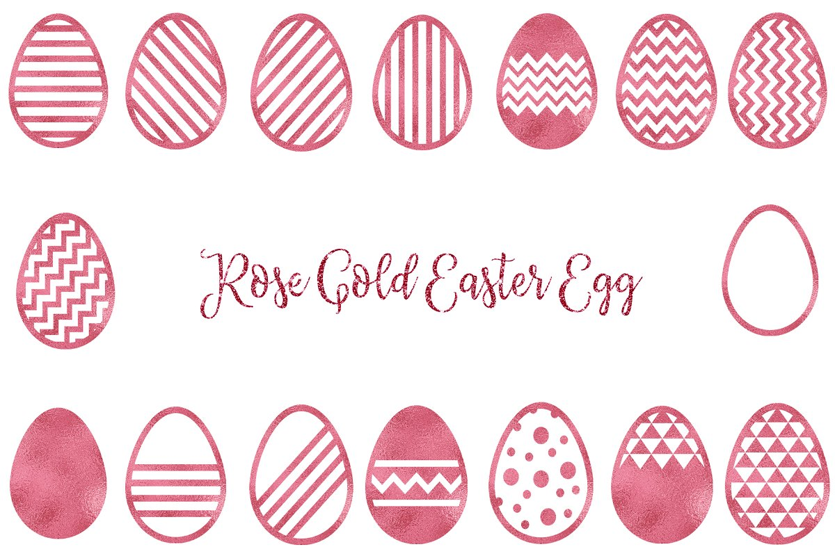 Rose Gold Easter Egg Clipart