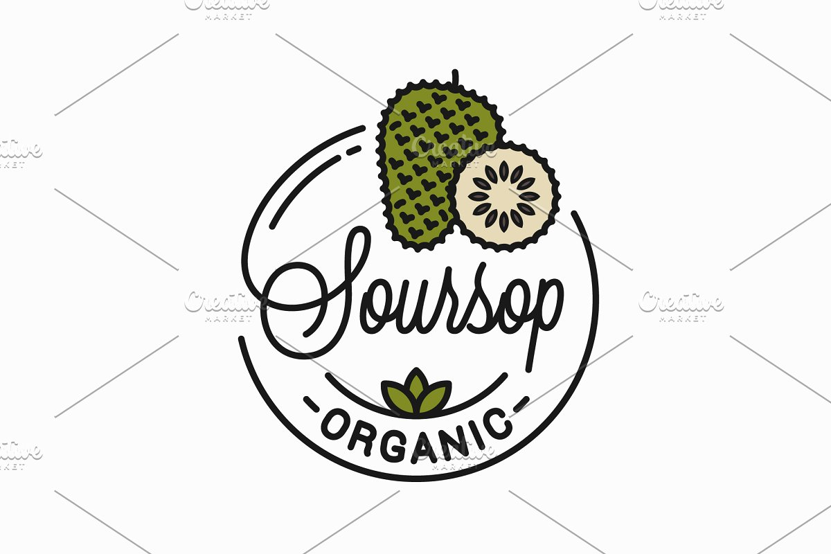 Soursop fruit logo. Round linear. in Illustrations
