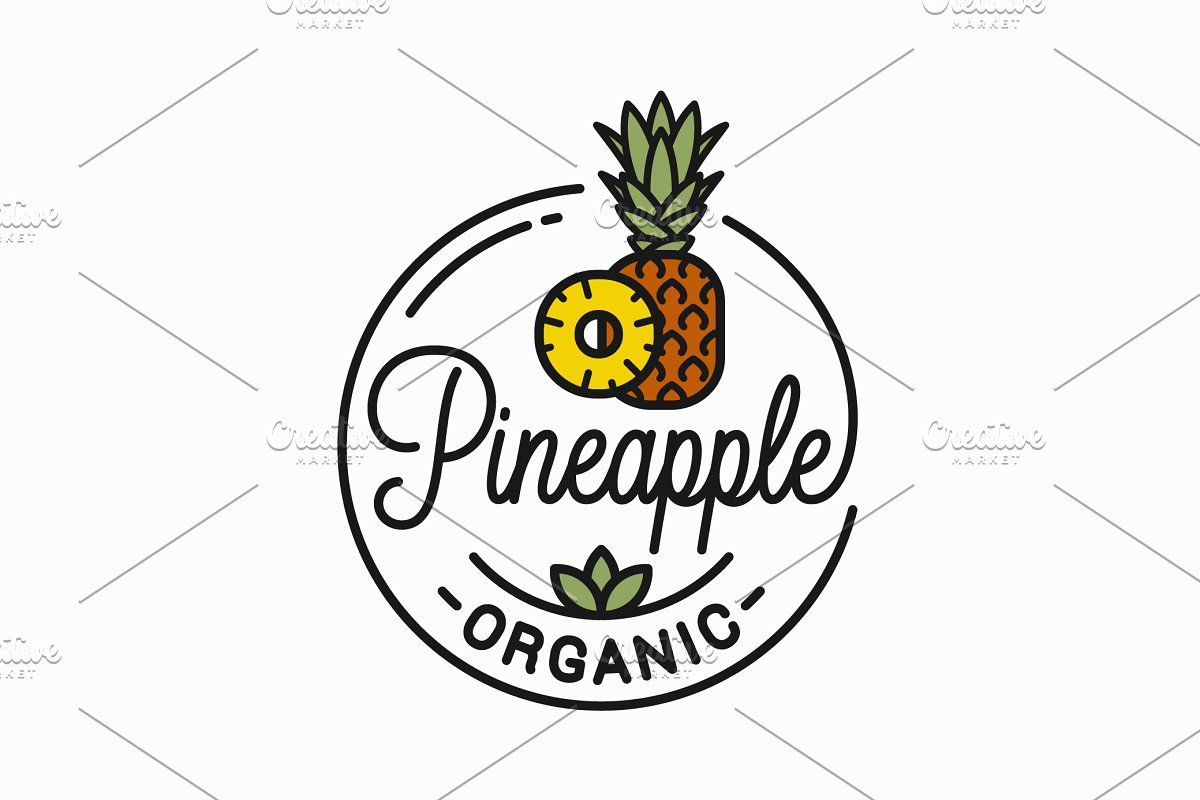 Pineapple fruit logo. Round linear.